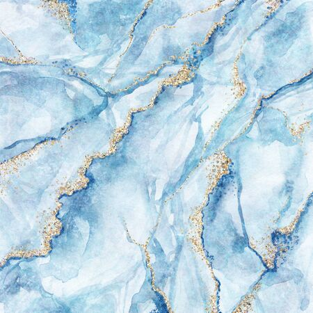 abstract background, white blue marble with gold glitter veins, fake stone texture, painted artificial marbled surface, fashion marbling illustration