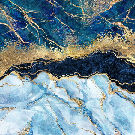 abstract background, blue marble, fake stone texture, liquid paint, gold foil and glitter decor, painted artificial marbled surface, fashion marbling illustration Banco de Imagens
