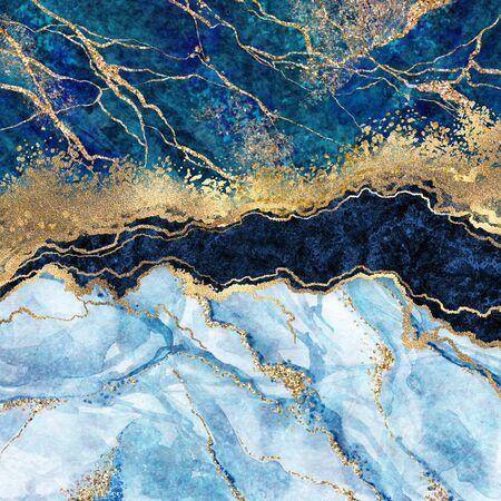 abstrakter Hintergrund, blauer Marmor, gefälschte Steinstruktur, flüssige Farbe, Goldfolie und Glitzerdekor, bemalte künstliche marmorierte Oberfläche, Modemarmorillustration