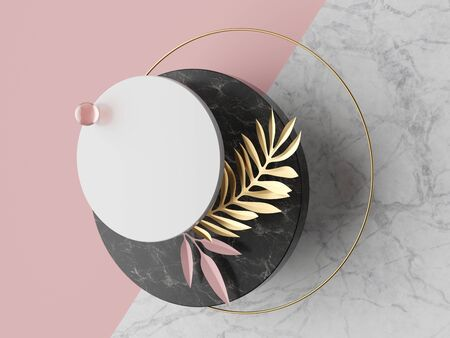 3d abstract modern minimal background, white round canvas isolated on pink, marble texture, glass ball, golden ring, geometric decor, fashion minimalistic scene, simple clean design, blank mockup