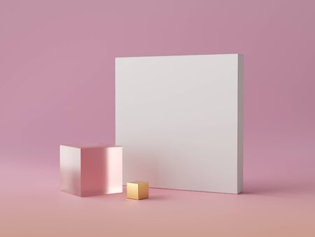 3d abstract modern minimal background, white square canvas isolated on pink, crystal glass block, golden cube, cubic decor, fashion minimalistic scene, simple clean design, blank feminine mockup Фото со стока