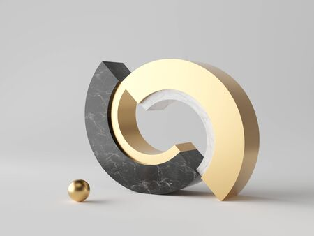 3d abstract minimal modern background, cut cylinder blocks isolated on white, black marble, gold ball, simple clean design, classy decor 写真素材