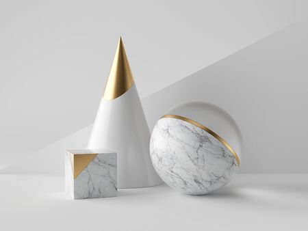 3d abstract primitive shapes on white background, marble and gold cone ball cube, clean minimalist design, sophisticated decor elements, modern geometric objects