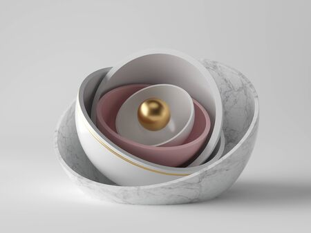 3d abstract minimal modern background, golden core ball hidden inside marble hemisphere shell, isolated objects, stack of bowls, simple clean design, classy decor