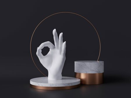 3d rendering of white hand, okay sign gesture, marble pedestal isolated on black background, good quality concept, gold round frame, blank cylinder podium, simple clean design, luxury minimal mockup 版權商用圖片