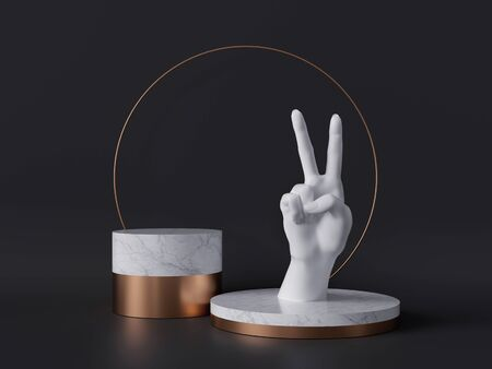 3d rendering of white hand, victory gesture, marble pedestal isolated on black background, minimalist concept, gold round frame, blank cylinder podium, simple clean design, luxury minimal mockup