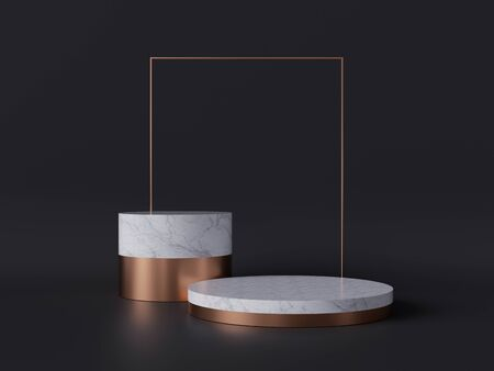 3d rendering of white marble pedestal isolated on black background, gold square frame, two cylinder blocks, abstract minimal concept, blank space, simple clean design, luxury minimalist mockup 版權商用圖片