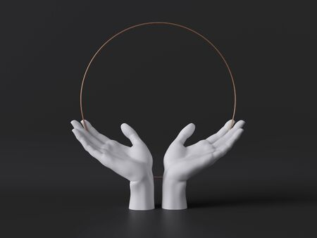 3d render, white female mannequin hands isolated on black background, open palms, body parts, fashion concept, religious praying ritual, sacred geometry, global care, clean minimal design, blank space 版權商用圖片
