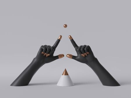 3d render, black decorative female mannequin hands isolated on white background, fingers pointing up, golden ball, body parts, fashion concept, cone shape, esoteric fortuneteller, clean minimal design 版權商用圖片