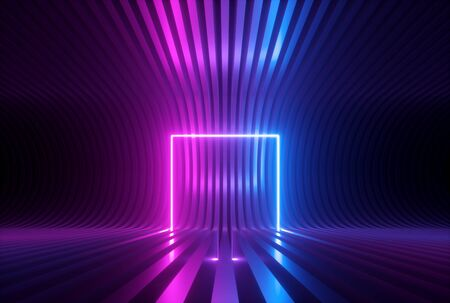 3d render, pink blue neon abstract  with glowing square shape