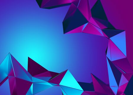 3d pink blue neon abstract crystal 写真素材