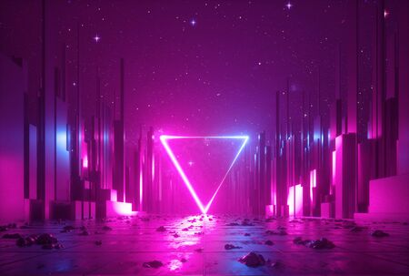 3d abstract neon cyber space virtual reality scene