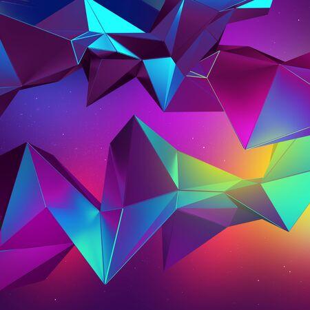 3d neon abstract crystal multicolor polygonal shapes 版權商用圖片