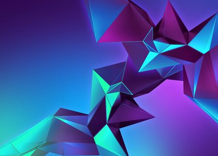 3d neon abstract crystal ultraviolet polygonal shapes 写真素材
