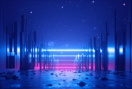 3d abstract neon glowing ultraviolet horizontal lines