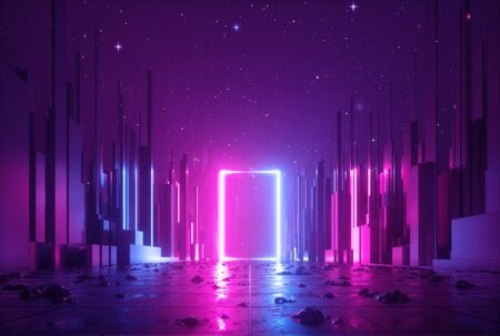 3d abstract neon cyber space virtual reality
