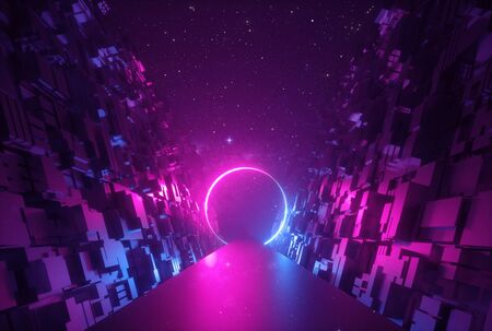 3d abstract neon glowing round portal in cyber space