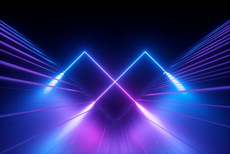 3d render, blue violet neon abstract  with glowing lines
