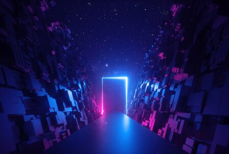 3d abstract neon glowing rectangular frame in cyber space 版權商用圖片