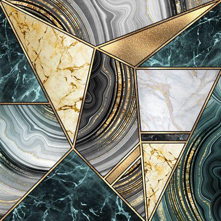 Abstract art deco  modern mosaic inlay 版權商用圖片