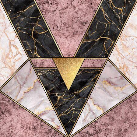 Abstract art deco  modern minimalist mosaic inlay