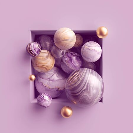 Abstract assorted pink gold marble balls inside square niche