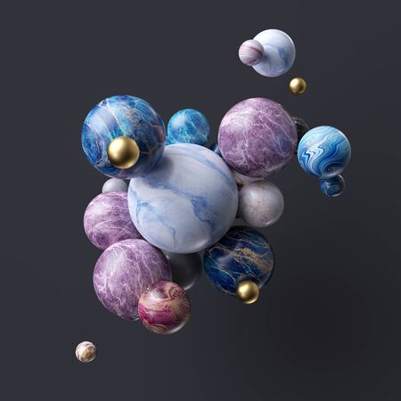 Abstract assorted marble balls isolated on black