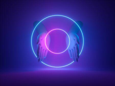 Neon light on dark room