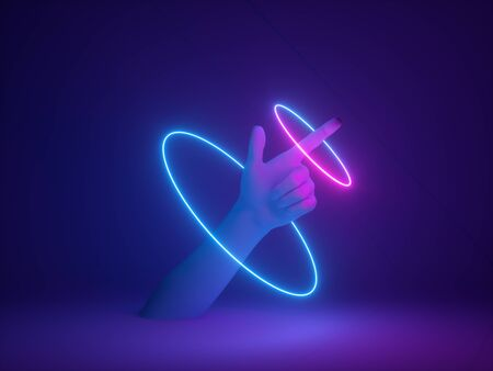 Neon light on hand pointing at empty space