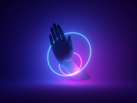 Neon light on hand for magician performance