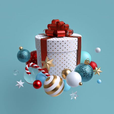 3d Christmas gift, white cylinder box wrapped with red bow Stock Photo