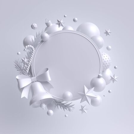 3d white Christmas round festive wreath with bell
