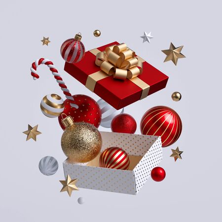 3d Christmas gift box opened, ornaments flying out. Festive clip art isolated on white