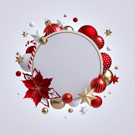 3d Christmas round wreath with red poinsettia flower isolated on white 写真素材