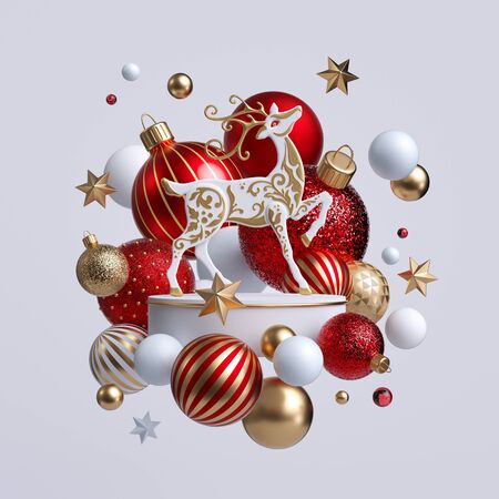3d Christmas reindeer with ornaments isolated on white