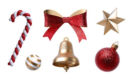3d Christmas clip art. Set of design elements, isolated on white 스톡 콘텐츠