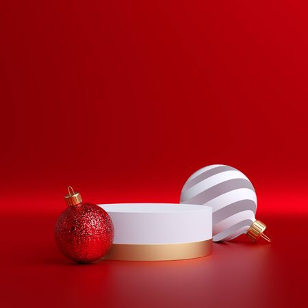 3d abstract Christmas  with glass balls ornaments and empty pedestal isolated on red.
