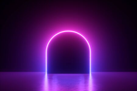 rendu 3d, fond néon abstrait minimal, ligne violette rose, arc rond brillant dans le noir, espace vide, lumière ultraviolette, style rétro des années 80, défilé de mode, conception de scène de performance
