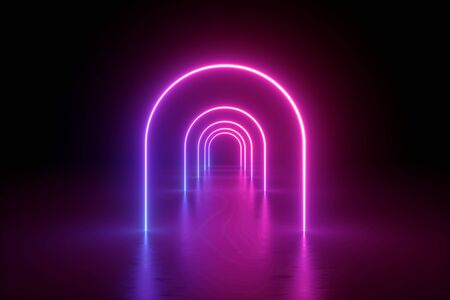3d render, abstract minimalist background, pink violet neon line, arches glowing in the dark, tunnel in ultraviolet light, 80's retro style, fashion show, performance stage design Standard-Bild - 131334875