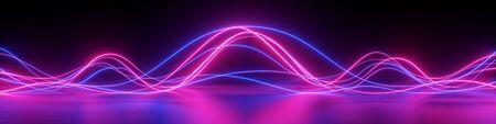 3D render, abstracte panoramische achtergrond met gloeiende neongolven, ultraviolet licht, equalizergrafiek, lasershow, impuls, pulsstroomleidingen