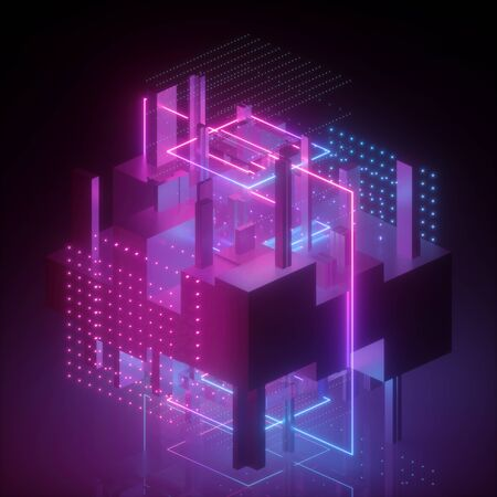 3d render, neon abstract background, geometric cubic shapes in ultraviolet, virtual blueprint, pink blue glowing light, glitch effect, cybernetic system, futuristic computing technology