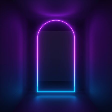 3d render, abstract minimalist neon background, ultraviolet light, violet glowing arch inside black room Stock fotó