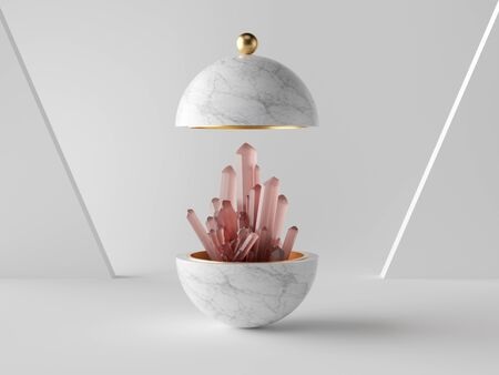 3d abstract minimalist modern background, rose pink crystal nugget inside white marble ball, isolated object, fashion design elements, classy decor, simple clean design Banco de Imagens