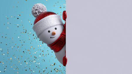 Christmas greeting card template. 3d snowman holding blank banner Stock fotó - 133561096