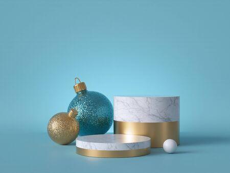 3D-Zusammenfassung mit Weihnachtsschmuck. Glaskugeln mit Glitzer.