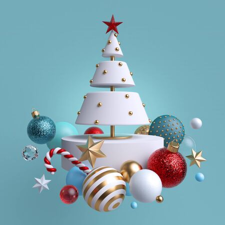 3d Christmas tree ornaments levitating, isolated on blue