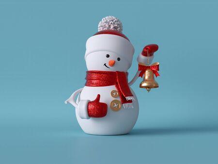 Christmas snowman standing, holding golden bell. Stock fotó