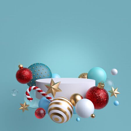 3d abstract blank blue  with Christmas ornaments. Stock Photo