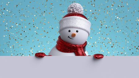 3d snowman holding white board. Stock fotó