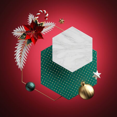 3d render. Abstract Christmas background. Blank hexagonal banner, honeycomb shape, copy space. Marble texture, polka dot pattern. Festive ornaments, poinsettia flower, isolated on red. Poster template